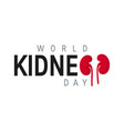 world kidney day concept in flat style vector image vector image