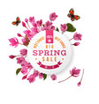 round emblem with cherry blossom flowers vector image