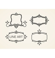 set of floral monogram frames line art elements vector image