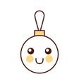 kawaii christmas ball decoration cartoon vector image