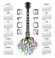2019 calendar with a whimsical guitar background vector image