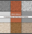 9 seamless patterns brick wall paterns vector image vector image