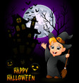 a little boy in a witch costume with pumpkin and h vector image vector image