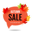 autumn poster speech bubble with color leaves vector image