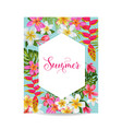 blooming summer floral frame poster banner vector image vector image
