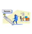 casual man climbing stairs career ladder up to vector image vector image