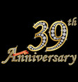 celebrating 39th anniversary golden sign with vector image