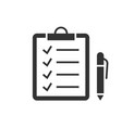check marks on clipboard black icon on white vector image vector image