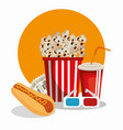 cinema food with glasses 3d vector image vector image
