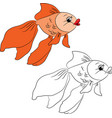 Coloring cartoon goldfish vector image vector image