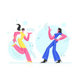 couple excited young girls dancing disco party vector image