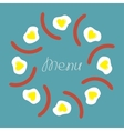Egg and sausage round food frame Menu cover Flat vector image vector image