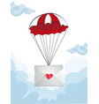 envelope with heart stamp flying on parachute vector image vector image