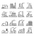 factory building outline set vector image vector image