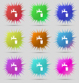 faucet glass water icon sign A set of nine vector image