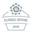 flower house logo simple gray style vector image