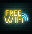 free wifi neon luminous signboard on bricklaying vector image