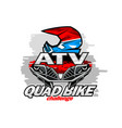 front quad bike and helmet racer emblem isolated vector image vector image
