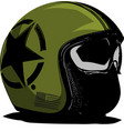 green motorcycle helmet with strips on a vector image vector image