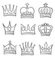 hand draw crown theme doodles vector image vector image