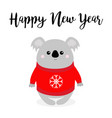 happy new year koala in red ugly sweater with vector image