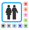 human couple framed icon vector image vector image