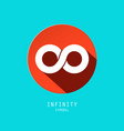 infinity symbol retro flat design icon in red vector image vector image