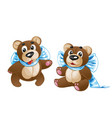 kids soft toy - cute teddy bear with a bow in vector image