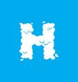 letter h cloud font symbol white alphabet sign on vector image vector image