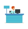 Office Bank Employee At Her Desk Bank Service vector image vector image