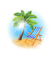 Palm tree and deck chair isolated on white vector image vector image
