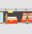 people shopping in supermarket customers buying vector image