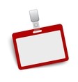 Red blank name tag isolated on white vector image