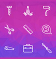 repair icons line style set with screwdriver bolt vector image vector image