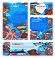 seafood shop and fish market design templates vector image vector image