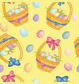 seamless pattern with cartoon basket with easter vector image