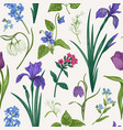 seamless pattern with flowers and herbs vector image