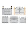 set icons metal gates and fences iron balustrade vector image