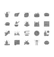 set japanese food and sushi gray icons vector image