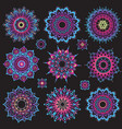 set of mandalas round ornament pattern vector image