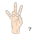 Sign language number 7 vector image vector image