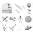 space technology monochrome icons in set vector image