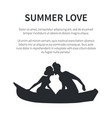 summer love web banner with kissing couple vector image vector image