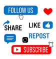 thumb up tags with with like and subscribe buttons vector image