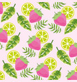 tropical strawberry and lemon fruits background vector image