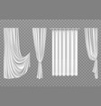 white curtains isolated on transparent background vector image vector image