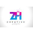 zh z h letter logo with shattered broken blue vector image vector image