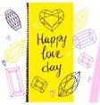 Happy love day geometric hand drawn vector image