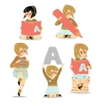 set of school girl with accessories vector image