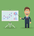 Cartoon character with pointer near presentation vector image